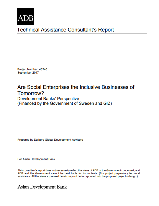 Are social enterprises the inclusive businesses of tomorrow? Development Banks' perspective