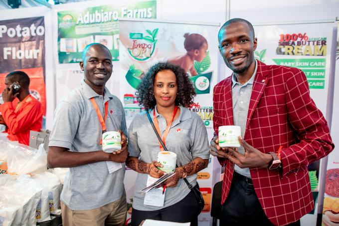 Entrepreneurs with their products at a forum