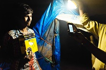 Beneficiary with a solar light