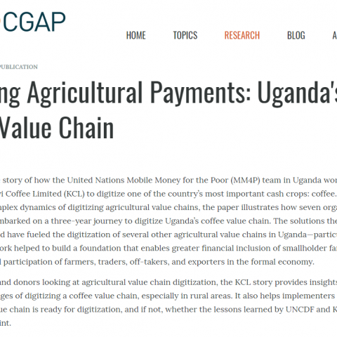 Digitizing agricultural payments: Uganda's coffee value chain