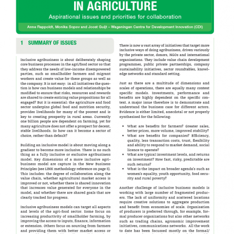 Inclusive Business Models in Agriculture