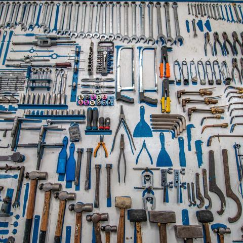 A wall full of tools