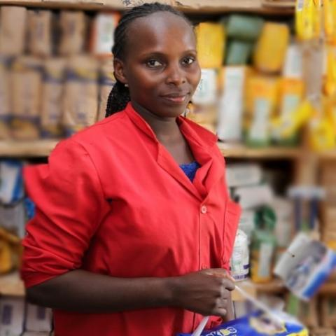 Nancy Wambui looks over her shop
