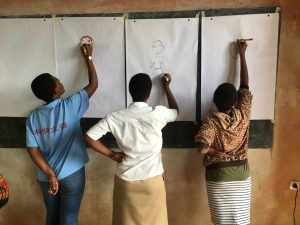 Girls drawing 'a girl just like me' in Kigali, Rwanda